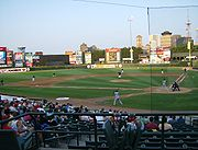 Frontier Field, including the Rochester skyline to the southeast.