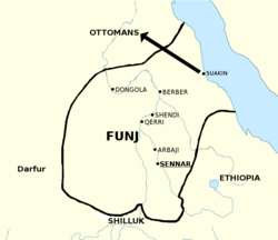 The Funj Sultanate at its peak in around 1700