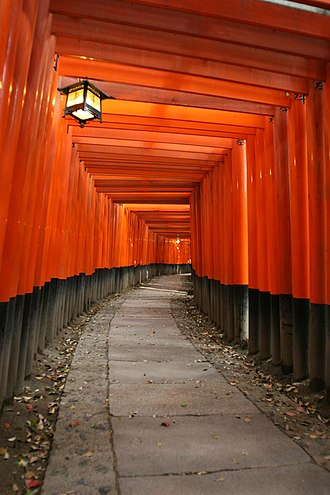 Memoirs of a Geisha (film) - The orange gateways at the Fushimi Inari Taisha shrine in Fushimi-ku, Kyoto, used in a scene wherein a young Chiyo runs through them