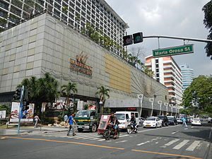 United Nations Avenue - The Waterfront Manila Pavilion Hotel and Casino at the junction with Maria Orosa Street