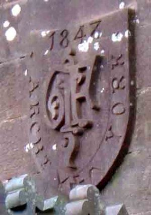 George Fowler Jones - Fowler Jones' monogram on gable end, Castle Oliver, Ireland