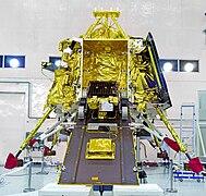 GSLV Mk III M1, Chandrayaan-2 - Pragyan rover mounted on the ramp of Vikram lander 01.jpg
