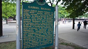 Gabriel Richard - State of Michigan Historical Marker summarizing the life of Fr. Gabriel Richard. Located outside Ste. Anne de Detroit Church.