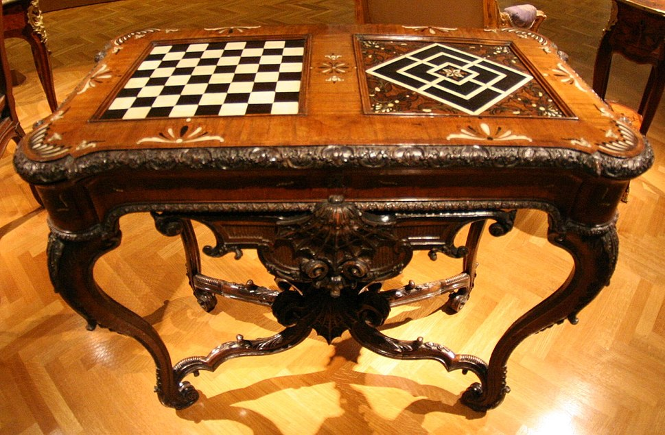 Gaming table with chessboard