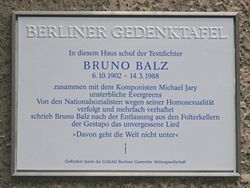 Photo of Bruno Balz white plaque