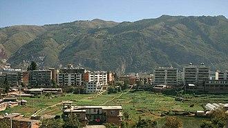 1970 Tonghai earthquake - Image: Gejiu west hills looking east