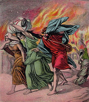 English: Lot and his daughters flee Sodom, as ...