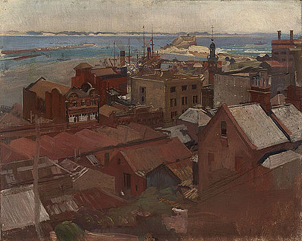 Newcastle (1925), oil on canvas, by George Washington Lambert George Lambert - Newcastle, 1925.jpg