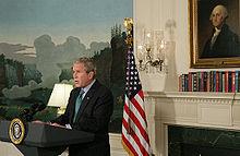 El Presidente Bush durante su declaración.