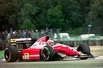 Gerhard Berger - Ferrari F93A during practice for the 1993 British Grand Prix (33686722605).jpg