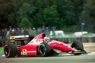 Ferrari F93A - Image: Gerhard Berger Ferrari F93A during practice for the 1993 British Grand Prix (33686722605)
