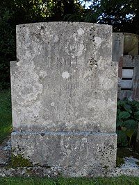 Gertrude Jekyll gravestone in St John the Baptist's church, Busbridge.jpg