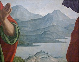 Girolamo Dai Libri - Madonna della quercia - 1533 after - Museo Castelvecchio, Verona (ITALY), crop Brescia Mountains south west Lake Garda, view from Peschiera.jpg