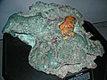 Glacial copper boulder (Mesoproterozoic, 1.05-1.06 Ga; near Houghton, Keweenaw Peninsula, Michigan, USA) (17269890716).jpg
