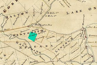 Glanbrook, Hamilton, Ontario - Glanford Township highlighted in green on an 1818 map