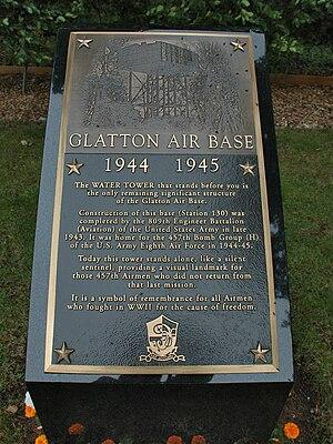 RAF Glatton - Glatton Airfield Water Tower Memorial to USAAF 457th Bomb Group.