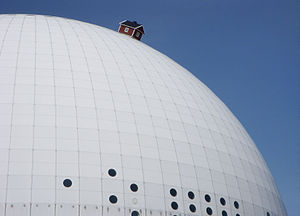 Ericsson Globe - A small cottage bolted to the top of the Globe.