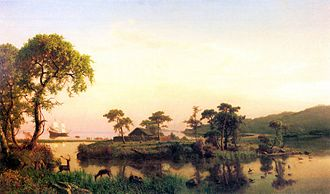 Squanto - Gosnold at Cuttyhunk, 1602 by Albert Bierstadt (Oil on canvas. 1858. New Bedford Whaling Museum.)