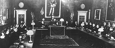 The Fascist Grand Council in session, 9 May 1936. Gran Consiglio Fascismo.jpg