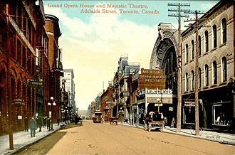 Toronto Theatre District - A 1904 postcard showing the Grand Opera House and Majestic Theatre, Adelaide Street, in the current Toronto theatre district.