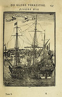 Gravura do Padre Eterno na entrada do rio Tejo, em Portugal, no livro Description de l'Univers (1683).jpg