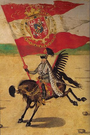 Polish–Lithuanian Commonwealth - Grand Standard Bearer of the Crown (Chorąży Wielki Koronny), Sebastian Sobieski, at the wedding procession of King Sigismund III, as painted anonymously on the Stockholm Roll (c. 1605).