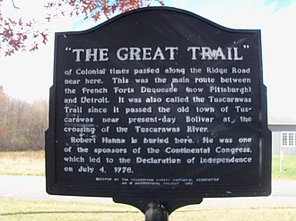 Great Trail - A historical marker along the trail in Ohio.
