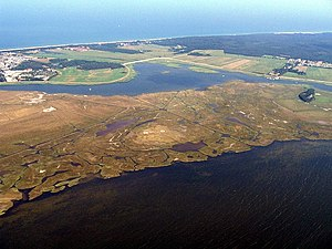 Kirr - Aerial photograph of the island of Kirr (foreground) and Zingst (background)
