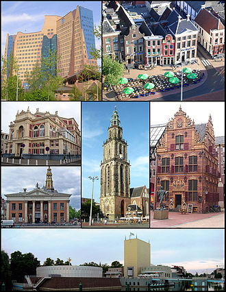 Groningen - Top row: Gasunie building and the western face of Grote Markt Square; middle row: Groningen City Theater/Korenbeurs and Aa Church, Martini Tower and Goudkantoor; bottom row: Groninger Museum
