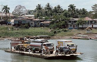 Petén Department - Ferry crossing the Pasión River at Sayaxché.
