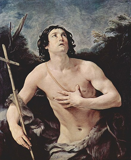 Guido Reni's 17th-century painting of John the Baptist depicts anguish and worry. Guido Reni 040.jpg