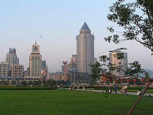 Guiyang - People's Square with Guiyang skyline on the background