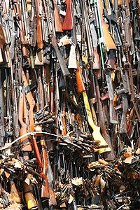 A tower of confiscated smuggled weapons about to be set ablaze in Nairobi, Kenya