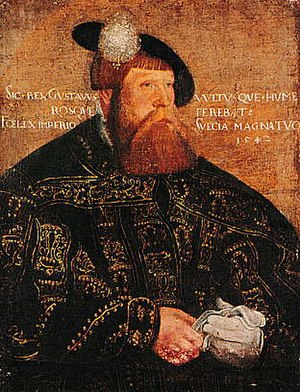 Jacob Binck - Portrait of Gustav I of Sweden, 1542 (possibly a later copy). Now in the Uppsala University's art collection.