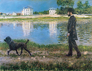 Richard Gallo et son chien au Petit Gennevilliers