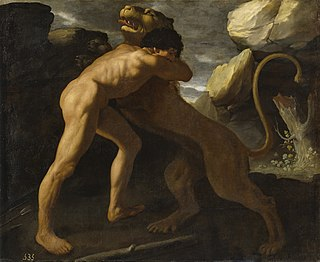 <i>Hercules fighting Nemean lion</i> painting by Francisco de Zurbarán