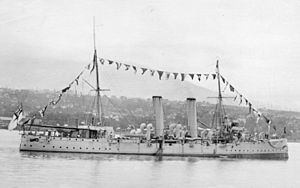 HMCS Rainbow dressed North Vancouver 1910.jpg