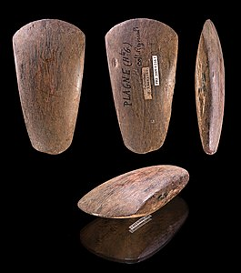 Polished Neolithic ax – Plagne, France - Different views of same specimen - Museum of Toulouse