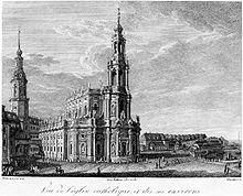 Die Dresdner Hofkirche zu Zeiten Mauermanns, Zeichnung: Gottlob Friedrich Thormeyer (Quelle: Wikimedia)