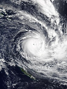 Satellite image of Harold exhibiting an eye and rainbands