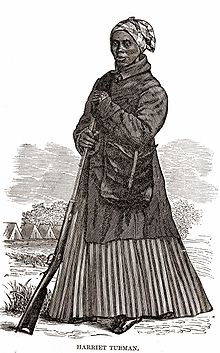 Sketch of Tubman standing with a rifle