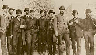 United States Department of Agriculture - Harvey Washington Wiley, Chief Chemist of the Department of Agriculture's Division of Chemistry (third from the right) with his staff, not long after he joined the division in 1883