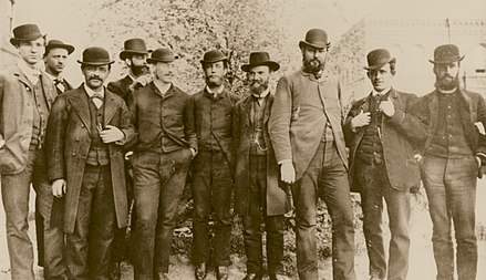 Harvey Washington Wiley, Chief Chemist of the Department of Agriculture's Division of Chemistry (third from the right) with his staff in 1883