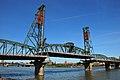 Hawthorne Bridge from the southwest with lift span raised slightly.jpg