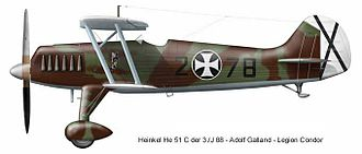 Heinkel He 51 - Heinkel He 51 C flown by Adolf Galland in Spanish Civil War