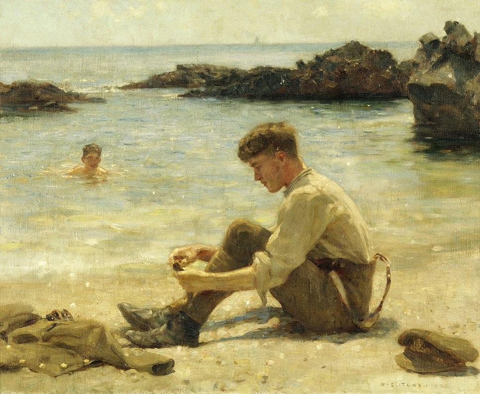Henry Scott Tuke - T. E. Lawrence as a cadet at Newporth Beach, near Falmouth