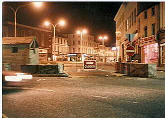 Billy Wright (loyalist) - Security barriers in Portadown, County Armagh at the height of the Troubles. Wright made his home in Portadown from the time he transferred there as a teenager