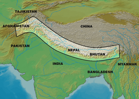 The general location of the Himalayas mountain range.