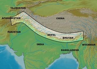 Western Himalaya - Map of the entire Himalayas