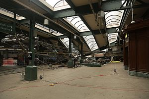 2016 Hoboken train crash - Collapsed portions of the station roof after the crash